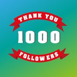 Vector thanks design template for network friends and followers. Thank you 1000 followers card. Image for Social Networks. Web use. R celebrates a large number vector illustration