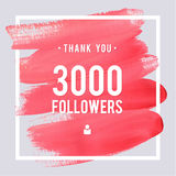 Vector thanks design template for network friends and followers. Thank you 3 followers card. Image for Social Networks. Web user. Vector thanks design template royalty free illustration