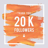 Vector thanks design template for network friends and followers. Thank you 20K followers card. Image for Social Networks. Web user Stock Images