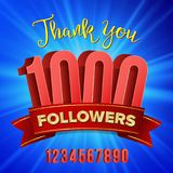Vector Thanks Design Vector. Web User Celebrates Large Number Of Subscribers. Blogger Network Friends Followers. 1000 Followers Vector. Thanks Design Template Royalty Free Stock Photos