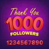 Thank You 1000 Followers Card Vector. Web Image for Social Networks. Beautiful Greeting Card. Illustration Stock Images