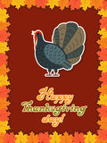 Vector thanksgiving card with maple leaf, turkey bird. Flat style. Hand lettered words Stock Photo