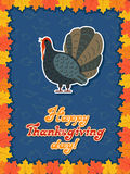 Vector thanksgiving card with maple leaf, turkey bird. Flat style. Hand lettered words Royalty Free Stock Images