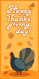 Vector thanksgiving card with maple leaf, turkey bird. Flat style. Hand lettered words Stock Images