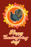 Vector thanksgiving card with maple leaf, turkey bird. Flat style. Hand lettered words Royalty Free Stock Photos