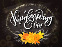 Vector thanksgiving day greeting lettering phrase - happy thanksgiving - with golden ellipse frame, chrysanthemum Stock Images