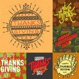 Vector thanksgiving decoration lettering postcard invitation cards design harvest november background illustration Royalty Free Stock Photo