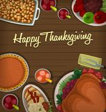 Vector thanksgiving dinner dish top down view roasted turkey pumpkin pie chicken bread fruits. Including apple strawberry grape cranberry juice background vector illustration