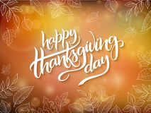 Vector thanksgiving greeting card with hand lettering label - happy thanksgiving day - and autumn doodle leaves on Royalty Free Stock Photos