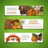 Vector Thanksgiving horizontal banners set. Royalty Free Stock Photos