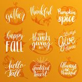 Vector Thanksgiving lettering with illustrations for invitations or festive greeting cards. Handwritten calligraphy set. Vector Thanksgiving lettering with Royalty Free Stock Photo
