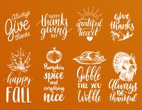 Vector Thanksgiving lettering with illustrations for invitations or festive greeting cards. Handwritten calligraphy set. Vector Thanksgiving lettering with Stock Photo