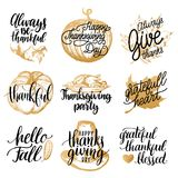 Vector Thanksgiving lettering with illustrations for invitations or festive greeting cards. Handwritten calligraphy set. Vector Thanksgiving lettering with Royalty Free Stock Photography