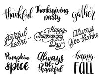 Vector Thanksgiving lettering for invitations or festive greeting cards. Handwritten calligraphy set of Be Thankful etc. Vector Thanksgiving lettering for Royalty Free Stock Photography