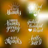 Vector Thanksgiving lettering for invitations or festive greeting cards.  Royalty Free Stock Photo