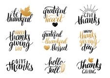 Vector Thanksgiving lettering for invitations or festive greeting cards.  Royalty Free Stock Images
