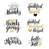 Vector Thanksgiving lettering for invitations or festive greeting cards. Handwritten calligraphy set Hello Fall etc. Stock Image