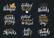 Vector Thanksgiving lettering for invitations or festive greeting cards. Handwritten calligraphy set Hello Fall etc. Royalty Free Stock Photo