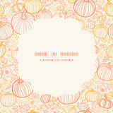 Vector thanksgiving line art pumkins circle frame Royalty Free Stock Photography