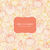 Vector thanksgiving line art pumkins frame Royalty Free Stock Photo