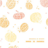 Vector thanksgiving pumpkins textile frame corner Royalty Free Stock Images
