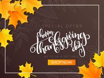 Vector thanksgiving sale banner with hand lettering label - happy thanksgiving day - and autumn doodle leaves and. Realistic maple leaves Royalty Free Stock Photos