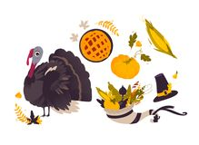 Vector set of flat thanksgiving symbols isolated Stock Photos