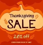 Vector thanksgiving social media sale banner in orange abstract autumn pumpkin background Stock Photography