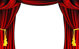 Vector Theater Curtain. Vector Red Theater Curtain with White Background Royalty Free Stock Images