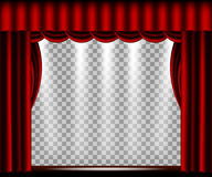 Vector Theater stage with red curtain. Theater stage with red curtain, spotlights lights and a transparent background. Vector illustration Stock Images