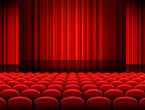 Vector Theather Hall with red Curtains Stock Photography