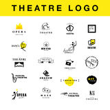 Vector theatre and ballet perfomance logo template design collection. Royalty Free Stock Images