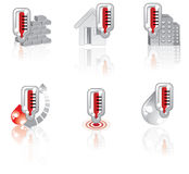 Vector Thermometer icon set Stock Images