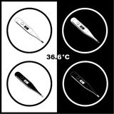 Vector thermometers icons. Vector thermometer icons. Shows 36.6 degrees Celsius. Black and white. Simply change Stock Photography