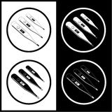 Vector thermometers icons. Shows 36.6, 37 and 40 degrees Celsius. Black and white. Simply change Stock Images