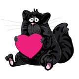 Vector thick black cat sitting with heart in his Royalty Free Stock Image
