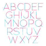 Vector thin font with round and soft strokes stock illustration