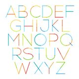 Vector thin font with round and soft strokes. Custom type design. Modern typeface made of colorful lines. Yellow, red, green and blue colors stock illustration