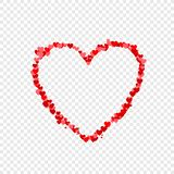 Vector Thin Heart Shaped Frame, Little Red and Pink Hearts, Illustration. stock illustration
