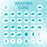 Vector thin icons design set. Weather icons set. Modern simple line icons.Material design. Ultra thin icons on white background Stock Photography
