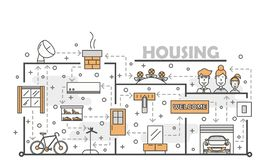 Vector thin line art housing poster banner template. Housing poster banner template. House interior with furniture, garage, auto, bike vector thin line art flat royalty free illustration