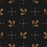 Vector thin line art seamless pattern of gold roses Stock Photo