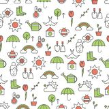 Vector thin line art spring seamless pattern. Vector seamless pattern with spring symbols, gardening tools and clothes. Thin line art flat style design stock illustration