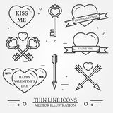 Vector thin line badge, label set for Saint Valentine's day and Royalty Free Stock Image