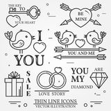 Vector thin line badge, label set for Saint Valentine's day and Royalty Free Stock Photography