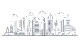 Vector thin line city panorama landscape. Modern architecture urban city with high skyscrapers. royalty free illustration