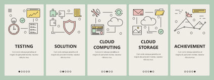 Vector thin line flat design cloud computing concept vertical banners. Vector set of vertical banners with Testing, Solution, Cloud computing, Cloud storage and stock illustration
