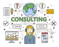 Vector thin line flat design Consulting concept banner. Vector Consulting service concept banner. Linear chart, graph. Consultant with speech bubbles. Thin line Royalty Free Stock Photography