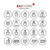 Easy icons 44b Computer crime. Vector thin line flat design icons set for computer crimes, hackers and fraud theme Stock Illustration