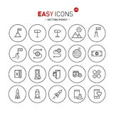 Easy icons 42b Gettng money. Vector thin line flat design icons set for getting money theme Royalty Free Stock Image